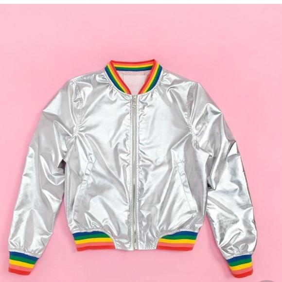 0d761d675 Metallic rainbow trim bomber jacket NWT NWT